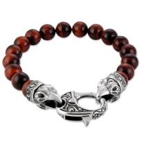 stephen_webster_beasts_of_london_sterling_silver_raven_head_red_tiger's_eye_beaded_bracelet_