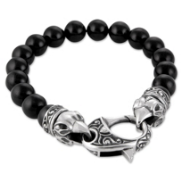 Stephen_Webster_Sterling_Silver_Onyx_Bead_Raven's_Head_Bracelet,_9""
