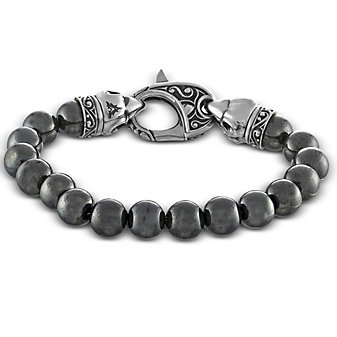 Sterling Silver and Hematite Bead Bracelet