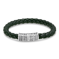 Stephen_Webster_Men's_Sterling_Silver_&_Green_Braided_Leather_Bracelet,_8.5""