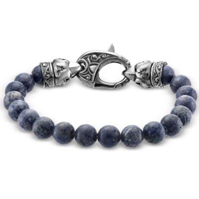 stephen webster beasts of london sterling silver raven head dyed grey beaded bracelet