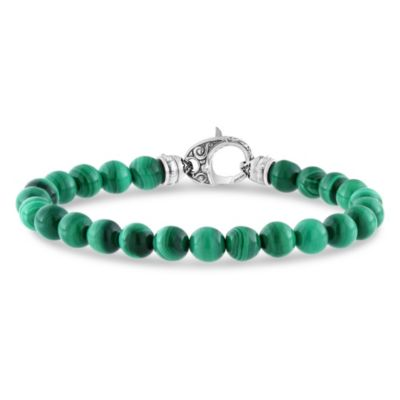 Stephen Webster Men's Sterling Silver Malachite Bead London Calling Bracelet