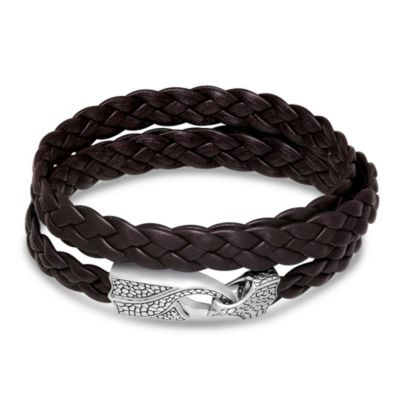 Stephen Webster Men's Sterling Silver Brown Leather Wrap Bracelet