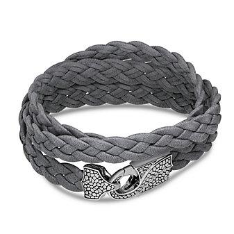 Stephen Webster Men's Sterling Silver Grey Leather Wrap Bracelet