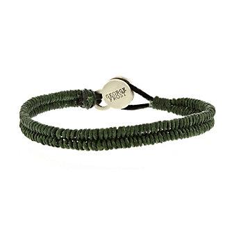 george frost white bronze green leather brace & new bracelet with black onyx clasp