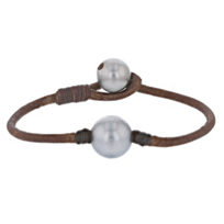 """vincent_peach_black_tahitian_south_sea_cultured_pearl_leather_cord_bracelet,__8"""""""
