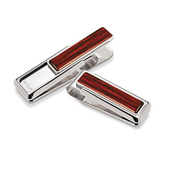 M-Clip Naturals Rhodium Cocobolo Wood Money Clip