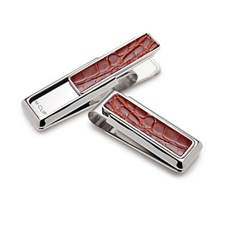 M-Clip Signature Monterey Rhodium Cognac Alligator Money Clip