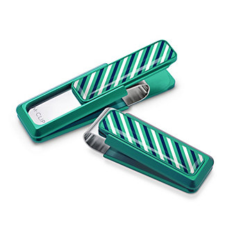 M-Clip Speciality Teal, Blue & White Rep Tie Money Clip