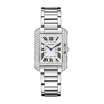 Cartier Tank Anglaise 18K White Gold & Diamond Watch, Small Model