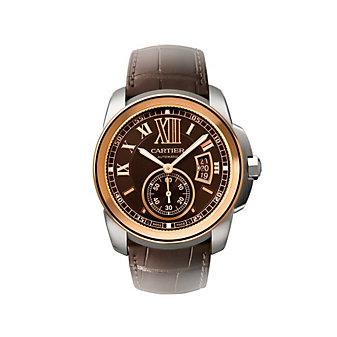 Cartier Calibre de Cartier 18K Rose Gold & Dark Brown Watch, Large Model