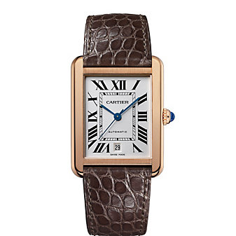 Cartier Tank Solo 18K Rose Gold and Brown Leather Watch, Extra Large Model