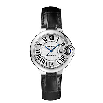 Cartier Ballon Bleu de Cartier Steel and Black Leather Watch, Small Model