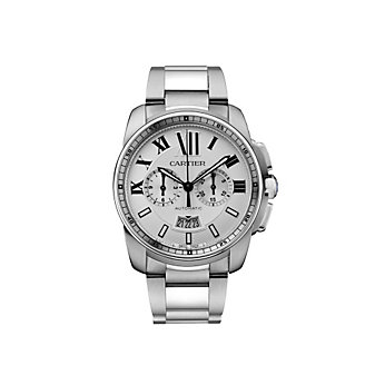 Cartier Calibre de Cartier Chronograph Steel Watch, Large Model