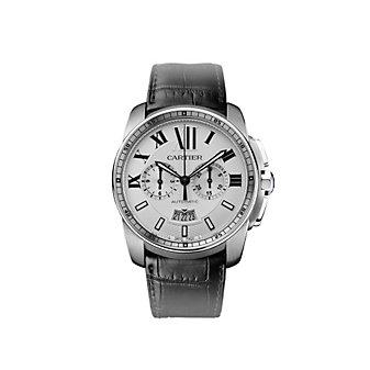 Cartier Calibre de Cartier Chronograph Steel Black Leather Watch, Large Model