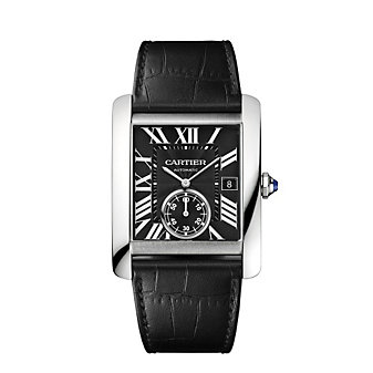 Cartier Tank MC Steel and Black Leather Strap Watch, Large Model