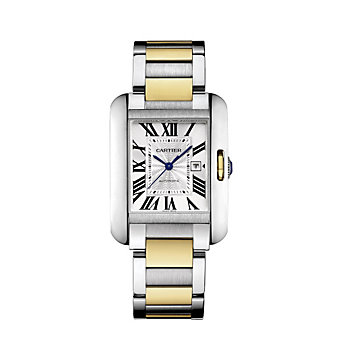 Cartier Tank Anglaise 18K Yellow Gold and Steel Watch, Large Model