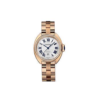 Cartier Cle de Cartier 18K Rose Gold and Diamond Bezel Watch, 31mm