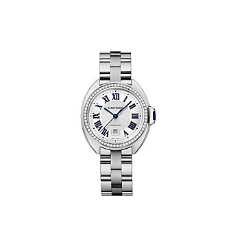 Cartier Cle de Cartier 18K White Gold and Diamond Bezel Watch, 31mm