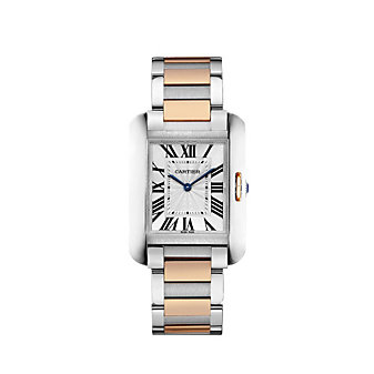 Cartier Tank Anglaise 18K Rose Gold and Steel Watch, Medium Model