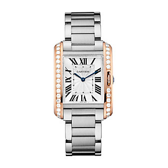 Cartier Tank Anglaise Steel, 18K Rose Gold and Diamond Watch, Medium Model