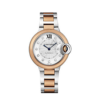 Cartier Ballon Bleu de Cartier 18K Rose Gold, Steel and Diamond Watch, 33mm