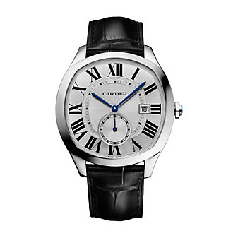 Cartier Drive de Cartier Steel and Black Leather Strap Watch, 41mm