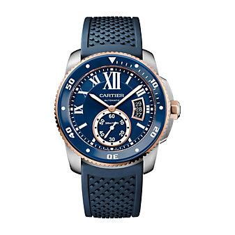 Cartier Calibre de Cartier Diver 18K Rose Gold and Steel Blue Watch, 42mm
