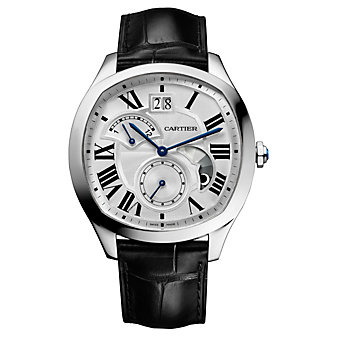 Cartier Drive De Cartier Watch - Steel & Black Leather