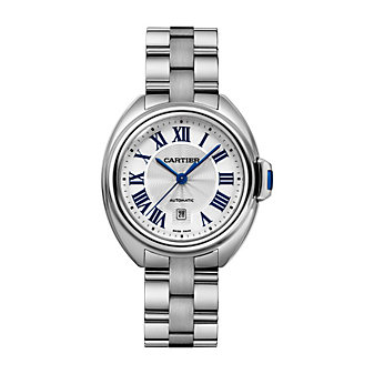 Cartier Cle de Cartier Steel Blue Numeral Watch, 31mm Small Model
