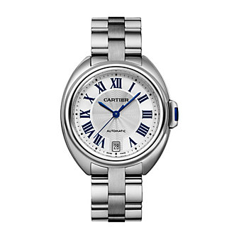Cartier Cle de Cartier Steel Blue Numeral Watch, 35mm Medium Model