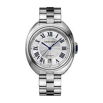 Cartier Cle de Cartier Steel Blue Numeral Watch, 40mm Large Model