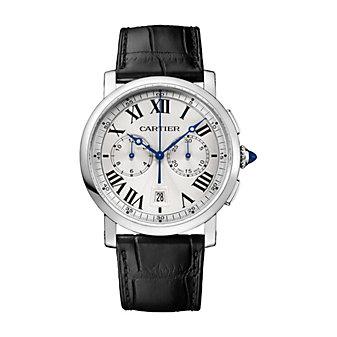 Cartier Rotonde De Cartier Chronograph Watch - 40MM Steel & Black Leather