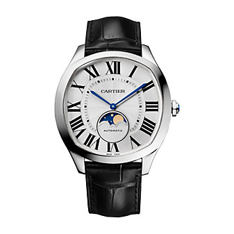 cartier drive de cartier moon phases watch - steel & leather
