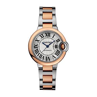 cartier ballon bleu de cartier 33mm pink gold & steel watch