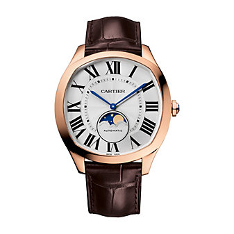 cartier drive de cartier moon phases pink gold & leather watch