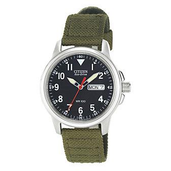 Citizen Men's Green Cloth Strap Watch, Black Dial