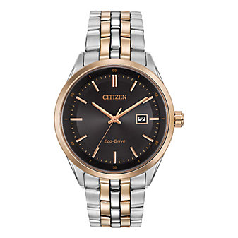 Citizen Men's Two-Tone Black Dial Eco-Drive Bracelet