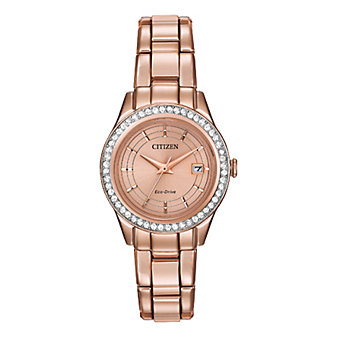 Citizen Silhouette Crystal Rose Gold-Tone Watch, Embellished Dial