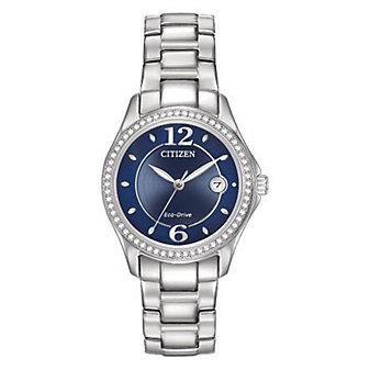 Citizen Silhouette Crystal Bracelet Watch, Blue Dial