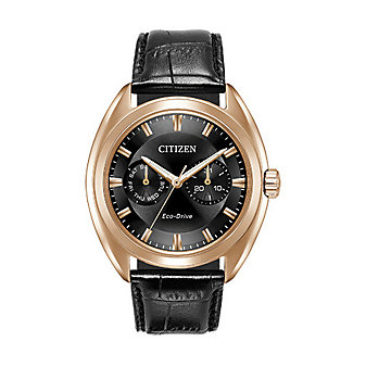 Citizen Eco-Drive Paradex Black Leather & Rose Gold Tone Watch