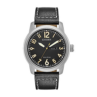 Citizen Eco-Drive Chandler Black Leather Strap Watch