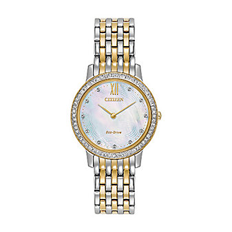 Citizen Silhouette Crystal Mother of Pearl Two Tone Watch