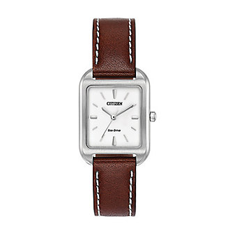 Citizen Eco-Drive Silhouette Tank Brown Leather Watch
