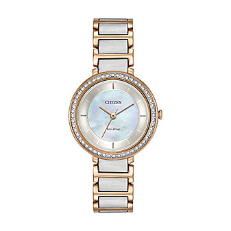 Citizen Silhouette Crystal Two Tone Rose-Gold Tone Stainless Steel Watch