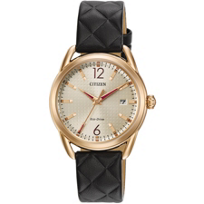 citizen_eco_drive_ltr_rose_tone_watch_with_black_quilted_leather_strap