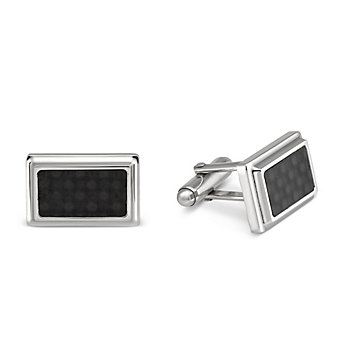 Sterling Silver and Carbon Fiber Cufflinks