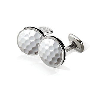M-Clip Stainless Steel Golfball Bordered Round Cufflinks