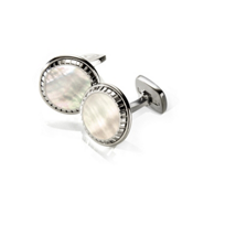 M-Clip_White_Mother_of_Pearl_Carved_Round_Cufflinks