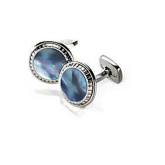 M-Clip Gray Mother of Pearl Carved Round Cufflinks